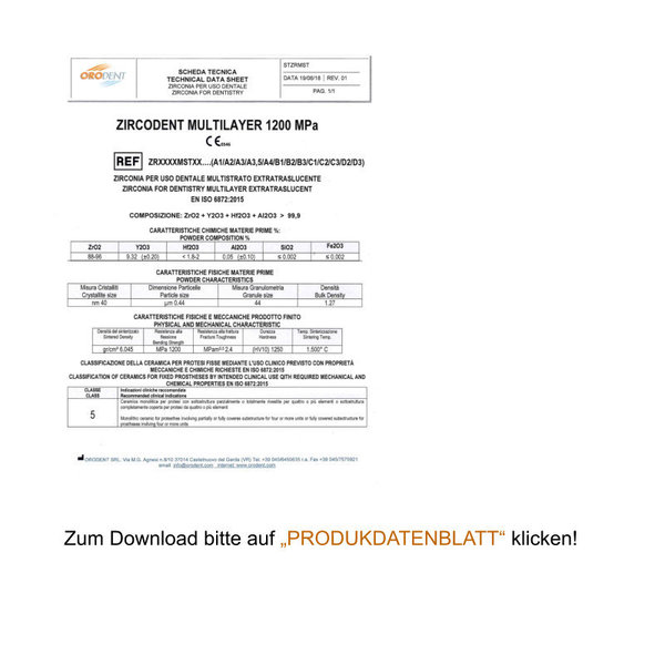 ZIRCODENT® Multilayer / Technical Data Sheet